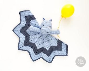Smiley Hippo Lovey Pattern | Security Blanket | Crochet Lovey | Baby Lovey Toy | Blanket Toy | Lovey Blanket PDF Crochet Pattern