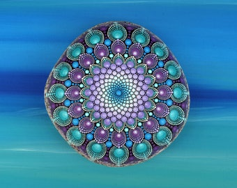 Reserved for Adam - Feathermoon - hand-painted stone - mandala