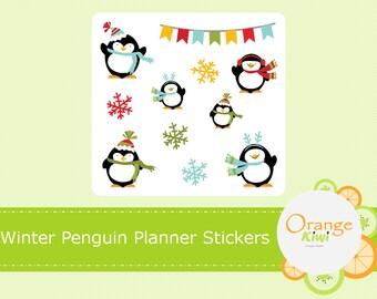 Winter Penguin Planner Stickers, Winter Sample Stickers, Erin Condren Life Planner