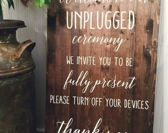 Unplugged Wedding Sign, Hand painted