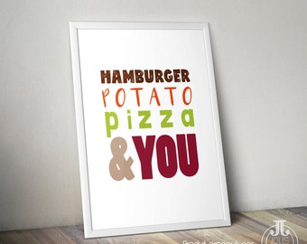 "Decorative humor poster couple ""Yummi"" [boy] Burger Potato Pizza • • • You"