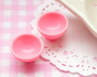 10% OFF SALE 5 x Cute Pink 3D Bowls Cabochons Embellishments Decoden Kawaii Craft Sweets Deco