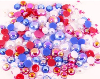 10% OFF SALE 15g or 25g Patriotic Red, White & Blue AB Iridescent Flat Back Pearl Set Mix Decoden Craft Embellishment