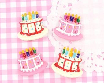 10% OFF SALE 6 x Birthday Cake Flat Back Cabochon Embellishments Kawaii Craft Supplies