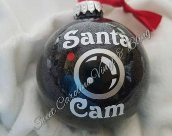 Santa Cam Ornament, Glitter ornament, elf, santa's watching, santa camera