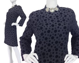 Vintage Clothing, Black Velvet Dress XL, Mod 60s Dress, Evening Dress, Psychedelic Dress, Bling Dress, Shift Dress, Polka Dot, SIZE XL