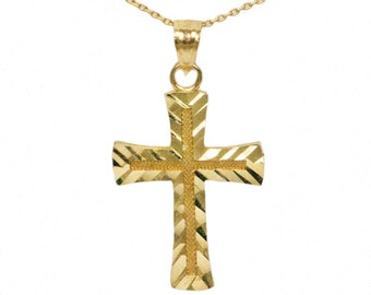 14k Yellow Gold Cross Necklace