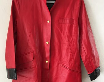 Bright red women's classic jacket, made from real leather, soft leather, steep jacket, jacket for lady's, kitsch style, vintage, size-small.