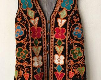 Unique Flowered Long Vintage Cotton & Velvet Vest National Kazakhstan Style Women's Size Medium.