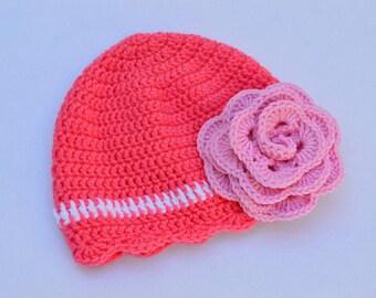 Crochet hat. Baby crochet hat. Newborn hat. Photo props. Winter hat. Pink hat. Girls hat