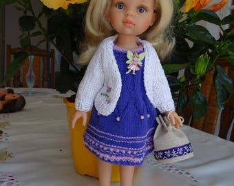 """CLOTHES for Dolls 13/14"""" 32/33 cm HANDMADE CREATIONS smart, Care,  Cocooning, Harmony, Dress,Bag, shoes,jacket, Violet/pink/white"""