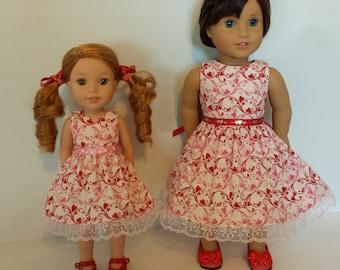 "Doll Dress Set of 2 dresses for ""Sisters"" Heart Dresses American Made 18"" & 14.5"" Girl Doll Dresses"