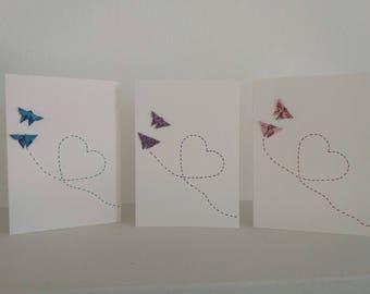 Origami  butefflies card. Set of 3 cards