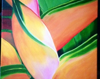 tropical flower, acrylic painting, print 8x10, double matted 11x14, hawaiian painting