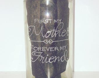 Hand engraved glass for mum