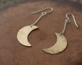 Hammered brass moon drop earrings - handmade