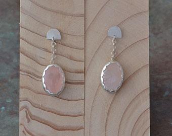 Sterling silver rose quartz drop earrings - handmade