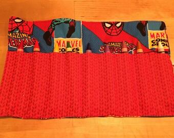 SPIDERMAN Crayon Roll - includes crayons