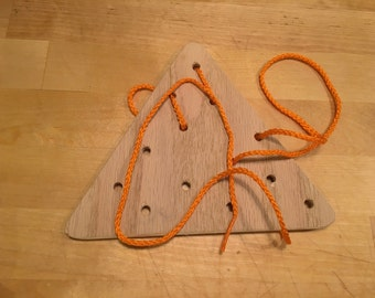 Wooden Lacing Card - triangle