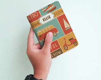 Travel Vehicles - Personalized Passport Cover/Holder - Travel Passport Cover - High Quality Handmade Leather | TTG-PPC-013