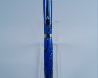 Beautiful Custom Handmade Blue Acrylic Twist Style Slimline Ballpoint Pen