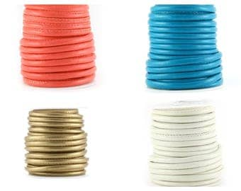 2, 5 or 10 m leather quilted (artificial) 5 mm round (coral, white, gold or blue)