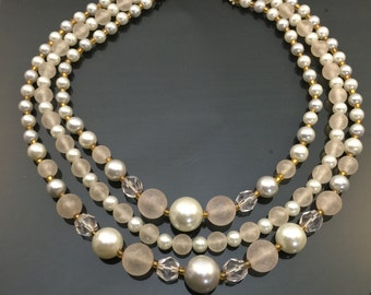 Beautiful Vintage Faux Pearl & Glass Bead Multi-Strand Choker Necklace
