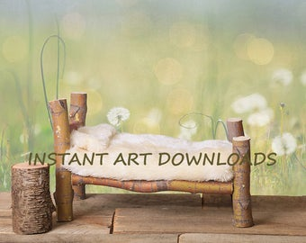 Spring Dandelions Meadow Newborn Bed Country Rural Backdrop Background Prop Digital Downloads Instant Photography Photo Yellow Wildflowers