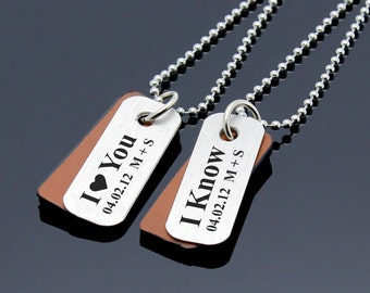 Couples Necklace, Couples Jewelry, Matching Necklace, Personalized Jewelry, Couples Set, Personalized Gifts, Couples Gift, I Love You I Know