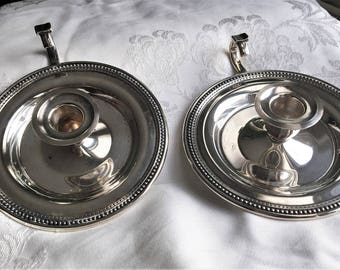 Oneida USA Silver Plated Chambersticks Candle Stick Holders One Pair