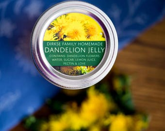 Customized Label - Dandelion Jelly - Wide Mouth & Regular Mouth - All Text is Customizable