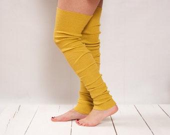 Leg Warmers Knit Yellow Leg Warmers Boot Socks Knit Knee Socks Knee High Socks Knee Socks Thigh High Socks