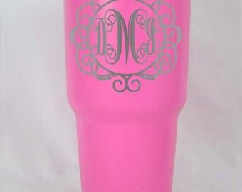 30 oz Large PINK YETI rambler tumbler cup engraved custom personalized powder coated