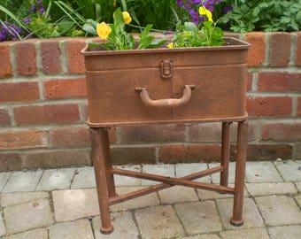 Stunning Antique Style Metal Suitcase Garden Planter on Legs