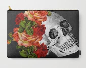Skeleton Makeup Bag, Skull Bag, Carry All, Day of the Dead Zipper Bag, Pencil Case, Skull Coin Purse, Black Travel Bag, Dia de los Muertos