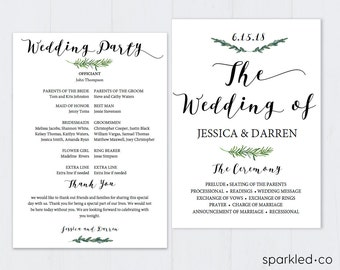 Botanical Wedding Program Template, Wedding Program Template Download, Wedding Programs, Wedding Program Printable, Rustic Wedding Program