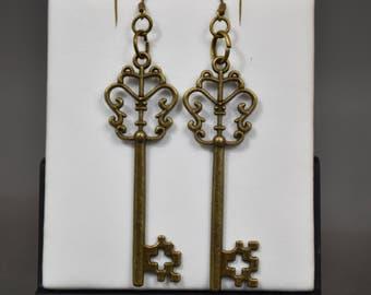 Steampunk copper earrings - keys