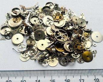 15g Steampunk Watch Movement Parts Gears Cogs Wheels Assorted Lot Industrial Art