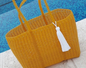 ONE LEFT! Large Plastic Beach Bag/Tote. Yellow with White Tassel/Pom! Handmade in Guatemala. Perfect Pool, Beach or Basket Bag!