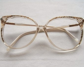 Nazareno Gabrielli Glasses Frame - Eighties Style  - Vintage Woman glasses - Retro Style - Made in Italy - Transparent - Touch Brown