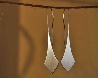 FILLED WITH DUSK Large Sterling Silver Tear Drop Earring