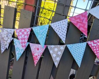 Fabric Bunting, Aqua, Pink and Grey nursery bunting, baby bunting, baby shower, nursery decor, party decorations