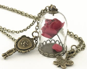 Beauty and the beast necklace ,rose necklace , flower necklace ,Enchanted Rose Flower in Bottle and Mirror Pendant Necklace