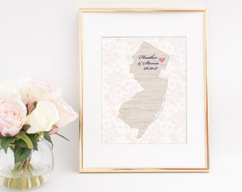 Personalized Wedding Gift with Linen and Lace Frameable Print Wedding Gift Print Any Location Available Unique Wedding Gift