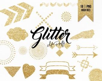 Gold Glitter Bundle | 18 Glitter Shapes + Strokes | Digital Glitter Shapes | Graphic Design | Clip Art | Brush Strokes | High Resolution PNG