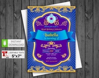 Printable invitation Princess Cinderella party in PDF with Editable Texts, Princess Cinderella Invitation, edit and print yourself!