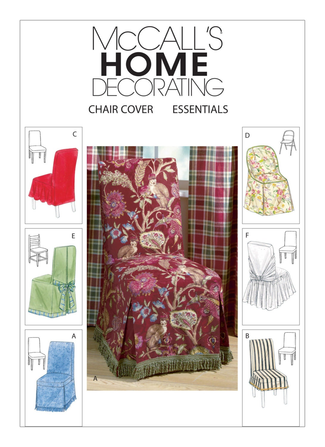 Sewing pattern for chair covers six styles mccall39s for Furniture cover sewing patterns