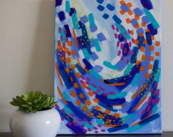 Abstract Art, Abstract Painting, Blue Abstract Art, Colorful Art, Rainbow Art, Blue Painting, Acrylic Painting, 11x14 Canvas