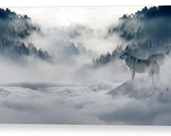 Wolf in Morning Mist Photo Canvas Box Art A4, A3, A2, A1 ++