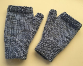 Soft snug hand knitted fingerless mitts - size S
